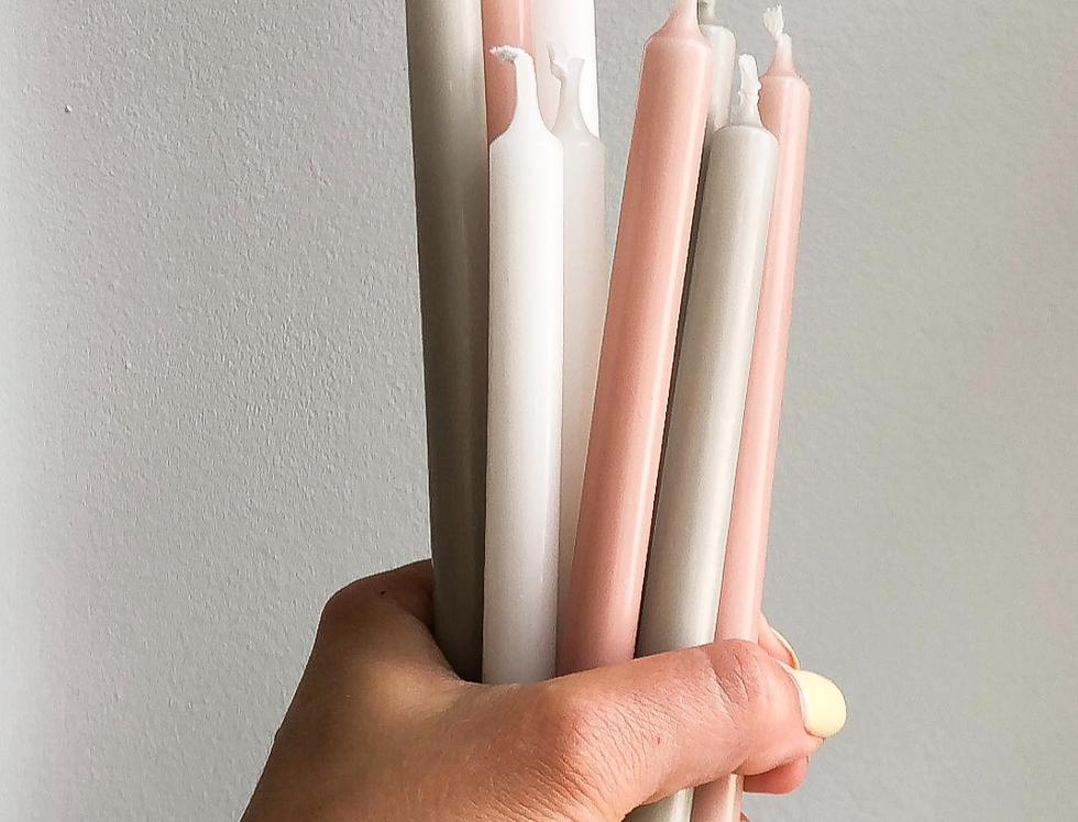 Kaarsen dineerkaarsen roze grijs wit