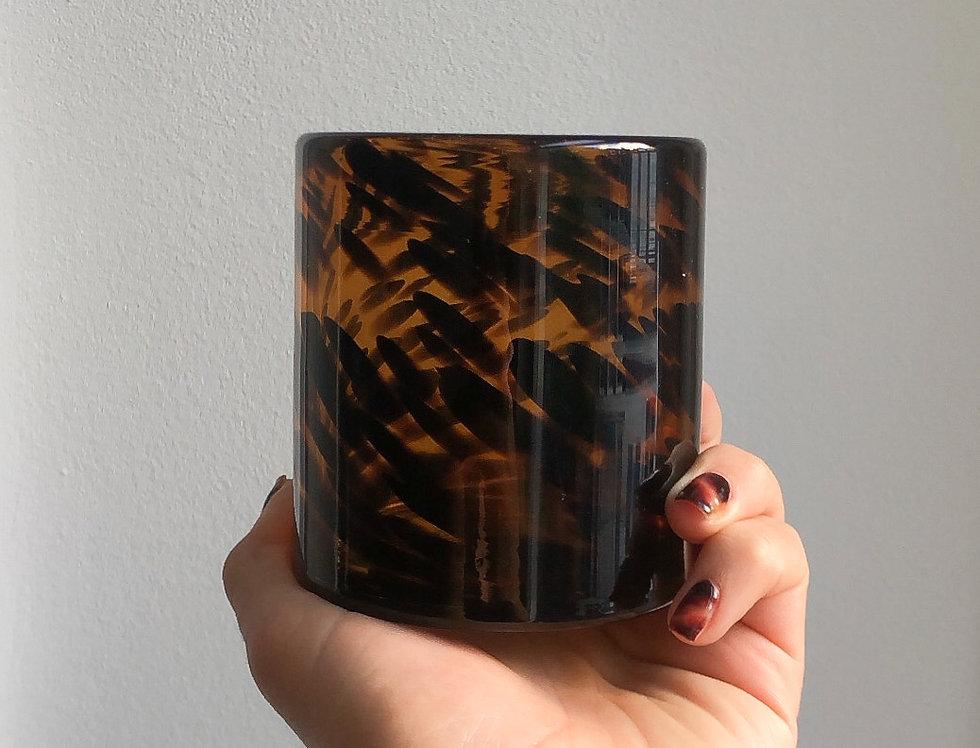 Bruine kaarsenhouder panterprint