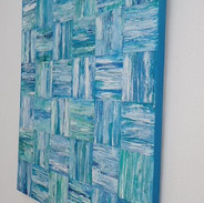 Turquoise Seas side view 60x60cms