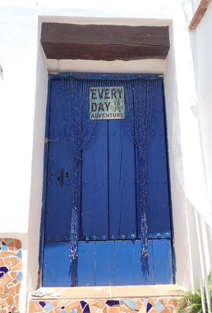 Blue studio door