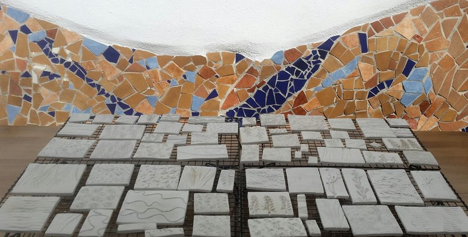 Tiles drying in my courtyard in the Spanish sun.