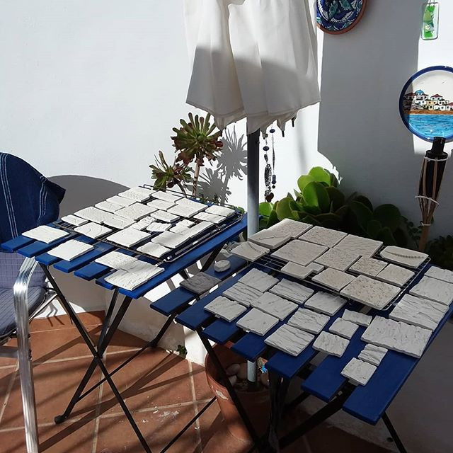 My tiles drying in the Spanish sunshine