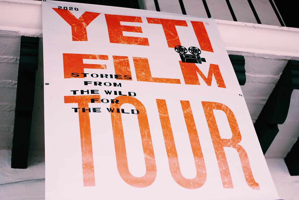 The Yeti Film Tour Banner hangs in the esplanade of the Lobero Theater in Santa Barbara