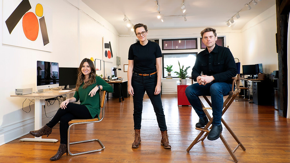 (L to R): Heather Martino (Editor), Sarah Klein (Co-Founder, Director), and Tom Mason (Co-Founder, Director) of Redglass Pictures