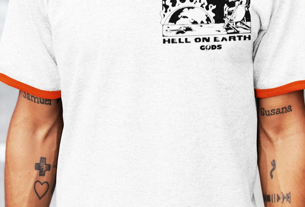 """GODS """"HELL ON EARTH"""" RINGER T- SHIRT"""