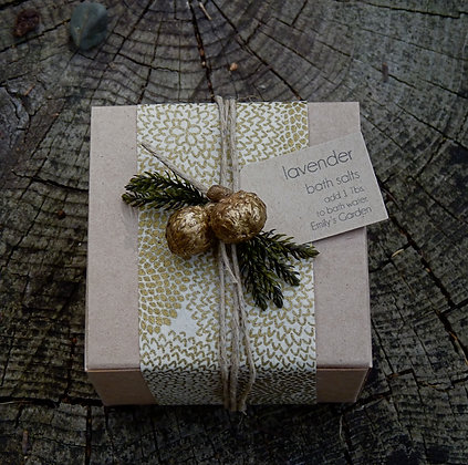 Boxed Bath Salts - Natural with Gold