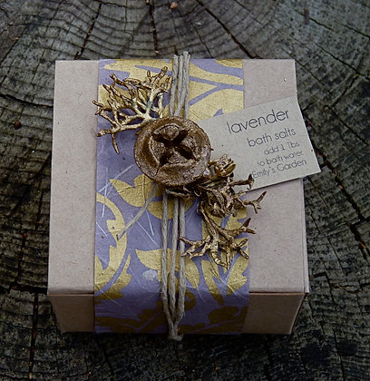 Boxed Bath Salts - Natural with Plum with Gold