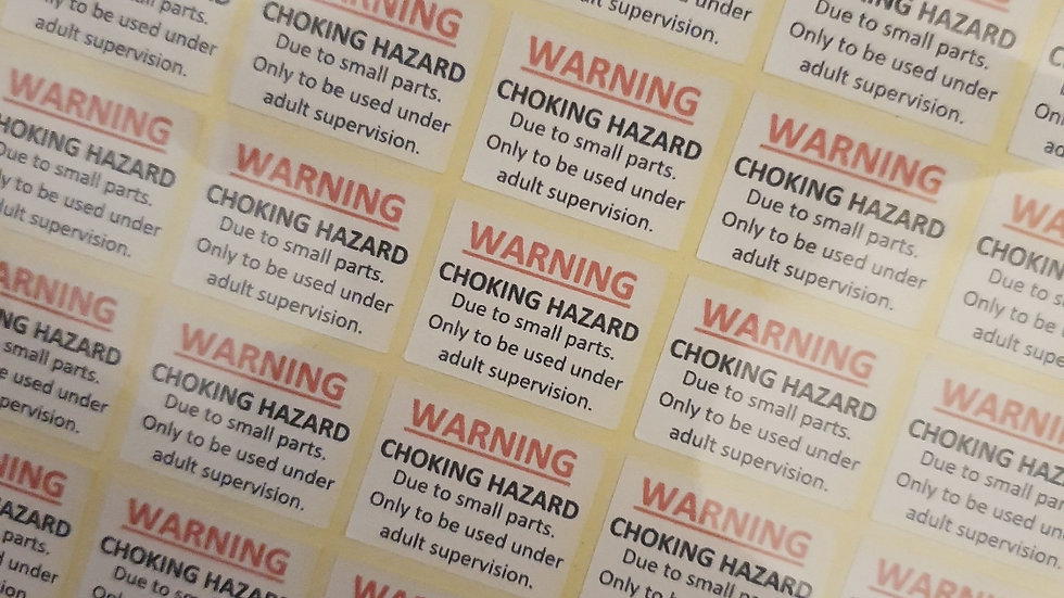 3 x Sheets of Matte Paper Warning Stickers  (small parts)