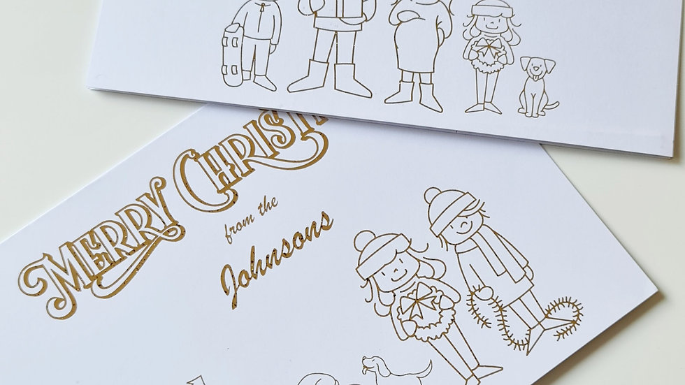 Personalised A5 Family Christmas Cards - Pack of 20
