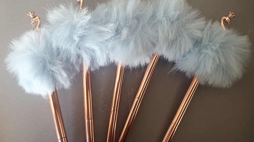 Personalised Rose Gold Fluffy Swan Topper Pen