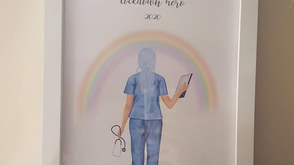 'Lockdown Hero' Nurse Print