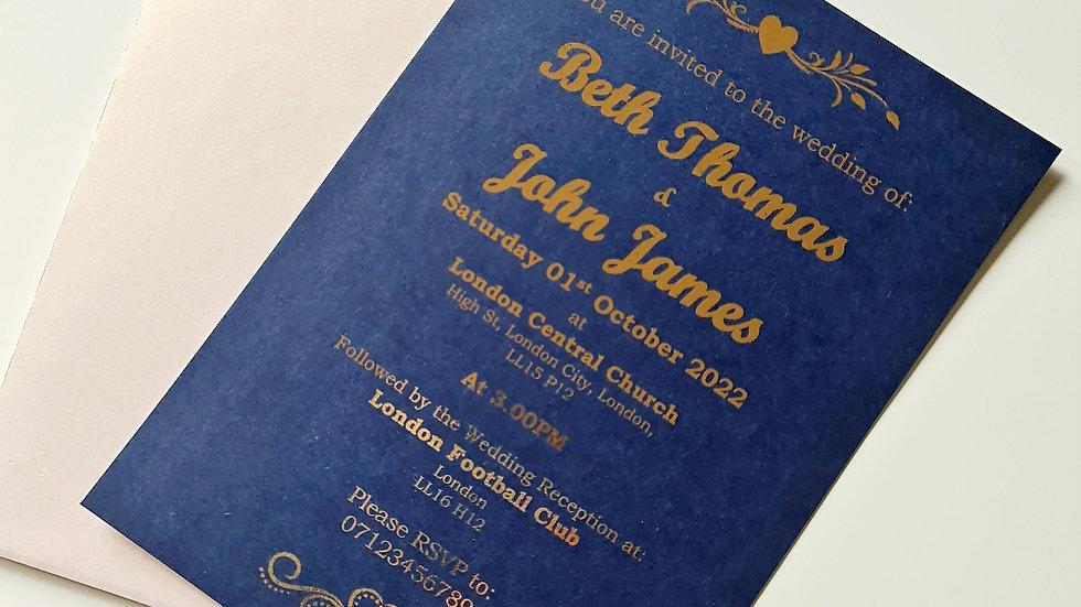 Navy & Rose Gold Foil Wedding Invitations x 50
