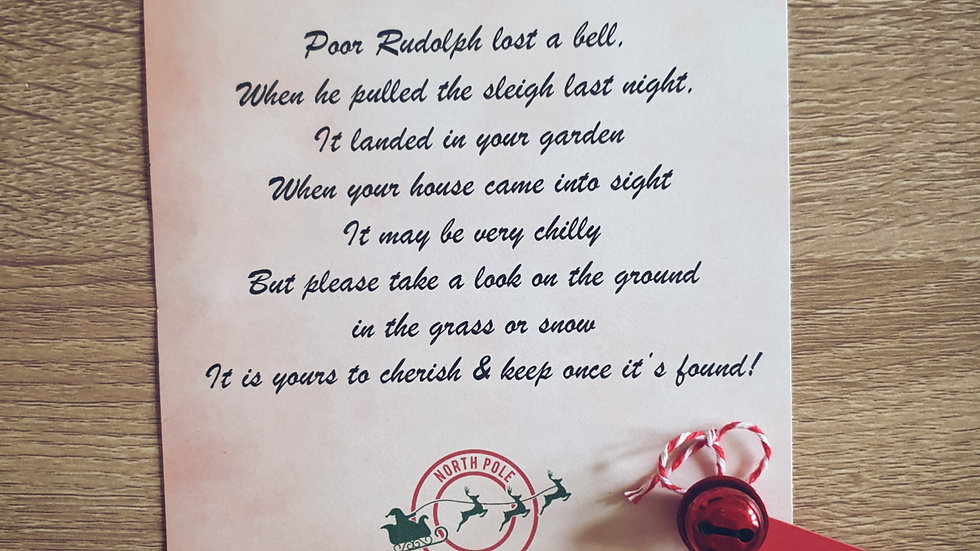 Rudolph's Lost Bell with Poem
