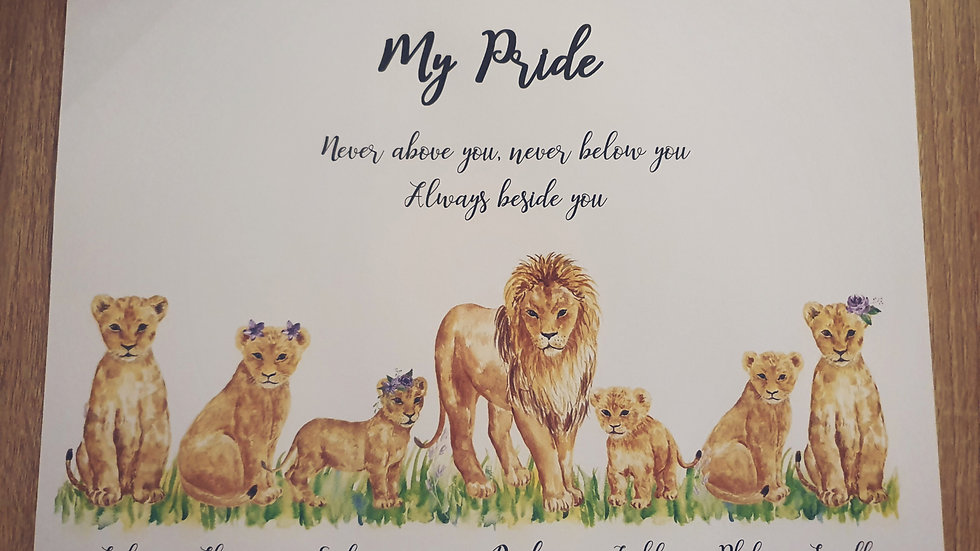 Lion Family Print