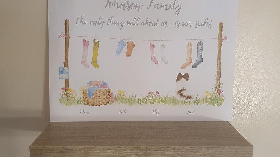 Our Family of Odd Socks Print