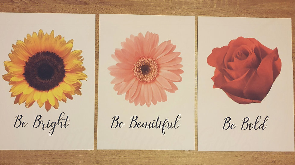 Set of 3 Flower Quote Prints