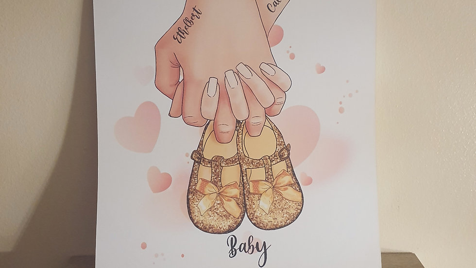 Parent and Child Holding Baby Shoes Print