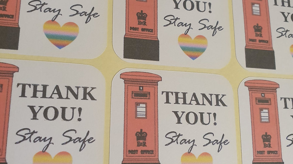 3 Sheets of Royal Mail Thank you Stickers