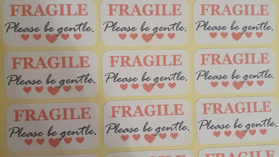 3 Sheets of Fragile Stickers