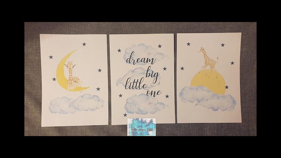 Dream Big Little One set of 3 Giraffe Prints