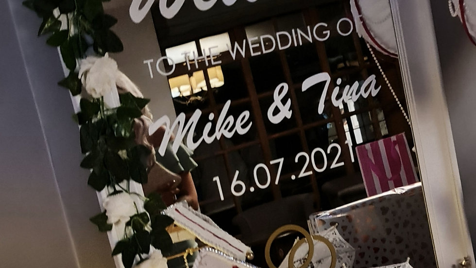 Wedding Welcome Mirror Vinyl Writing