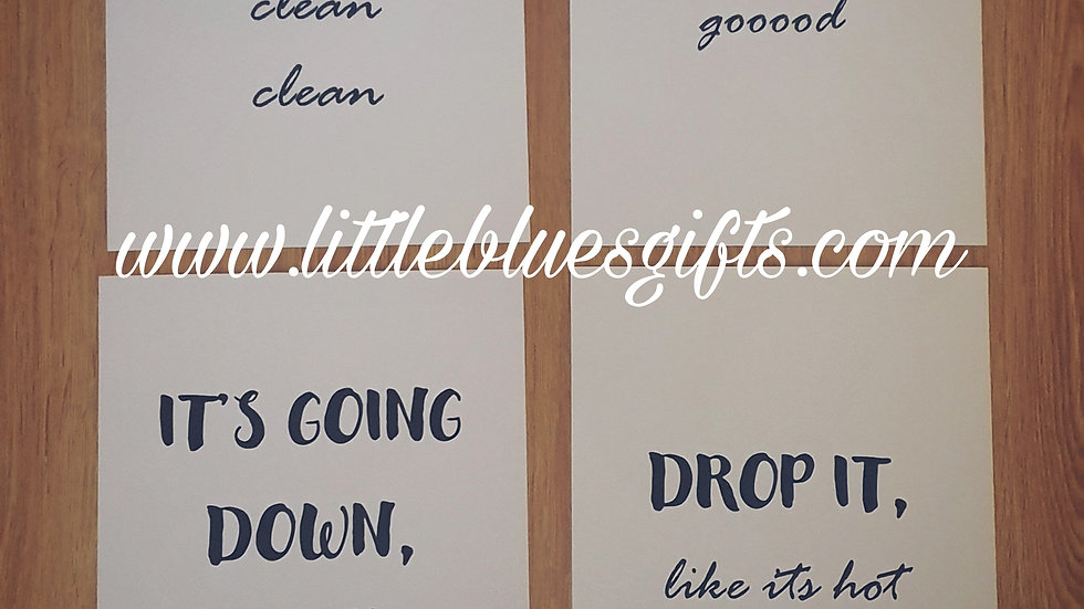 Comical Song Lyric Bathroom Prints set of 4