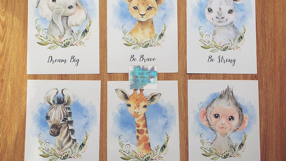 Safari Animals Nursery Prints Set of 6