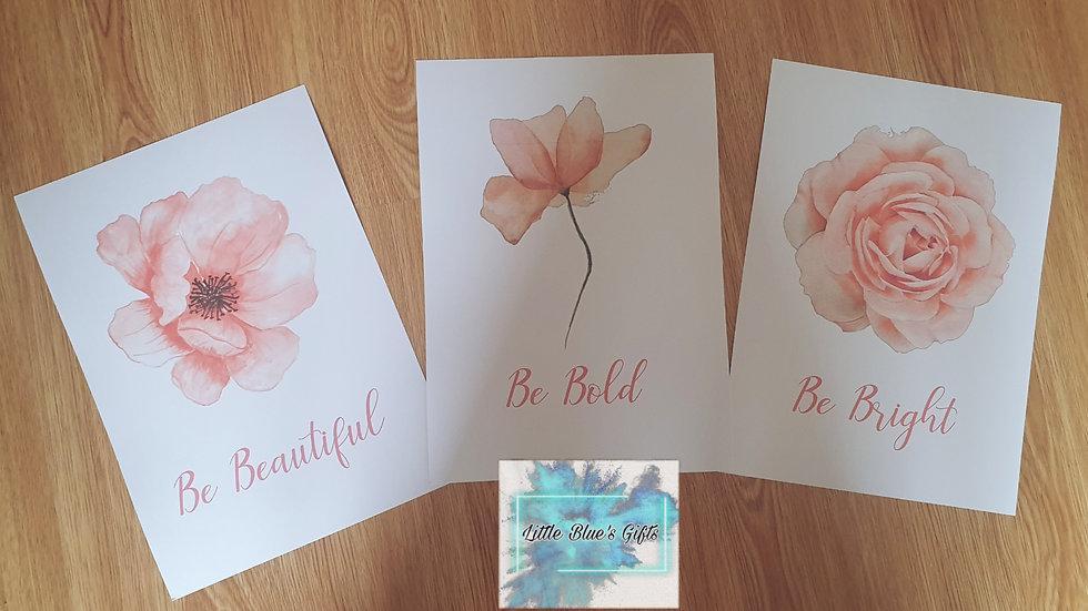 Set of 3 Blush Pink Flower Prints