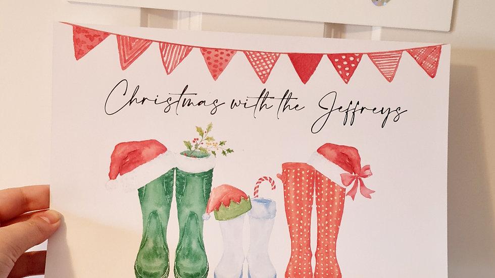 Personalised Christmas Wellyboot Print