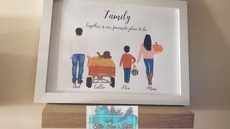 Autumnal Pumpkin Picking Family Print