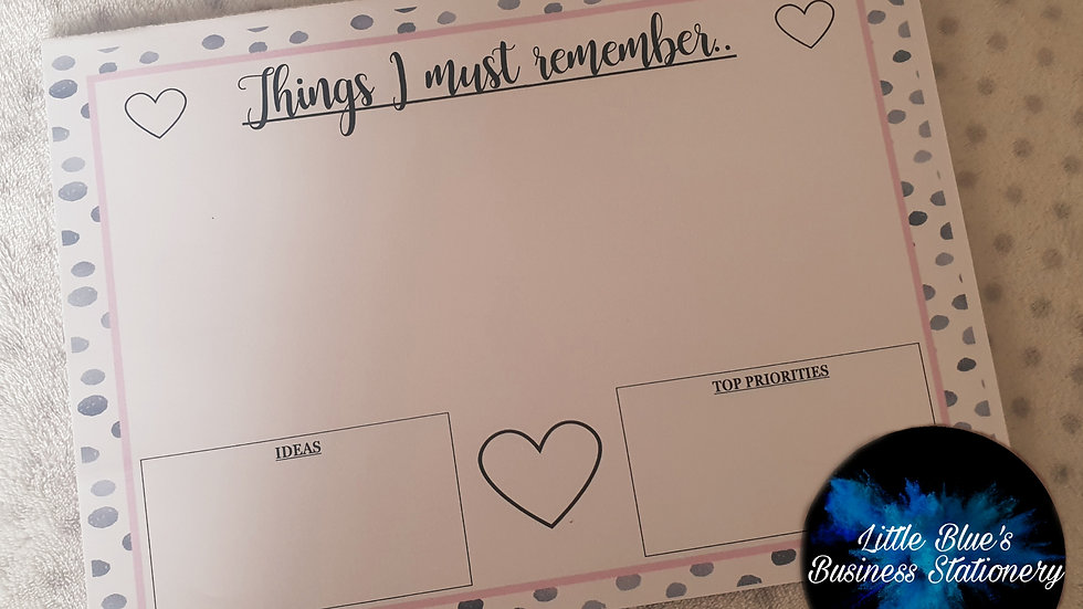 Tear Off Things I Must Remember Planner - Dalmation Print