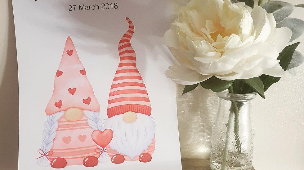 Personalised Valentine's Gonk Print