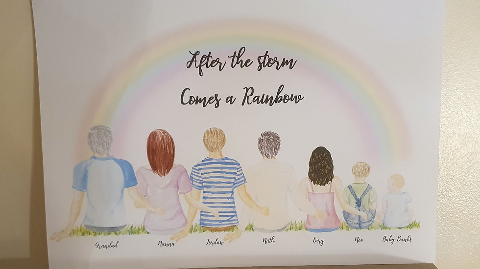 'After the storm, comes a Rainbow'  Personalised Print