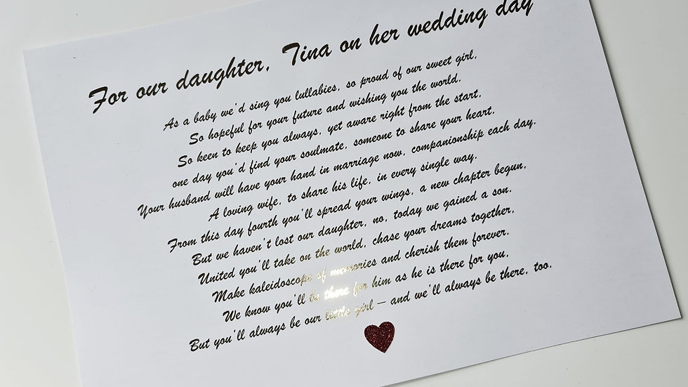 Foiled Daughter Quote Print