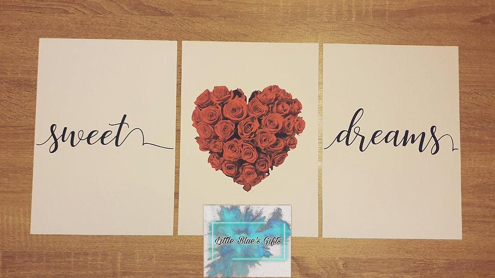 Set of 3 Rose Heart Sweet Dreams Prints