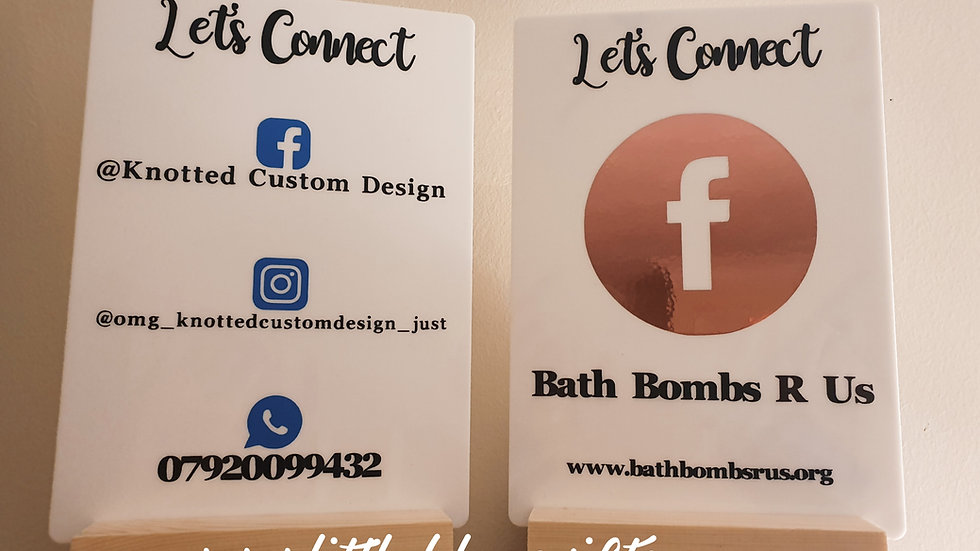 White A5 Custom Designed Acrylic Social Media Sign