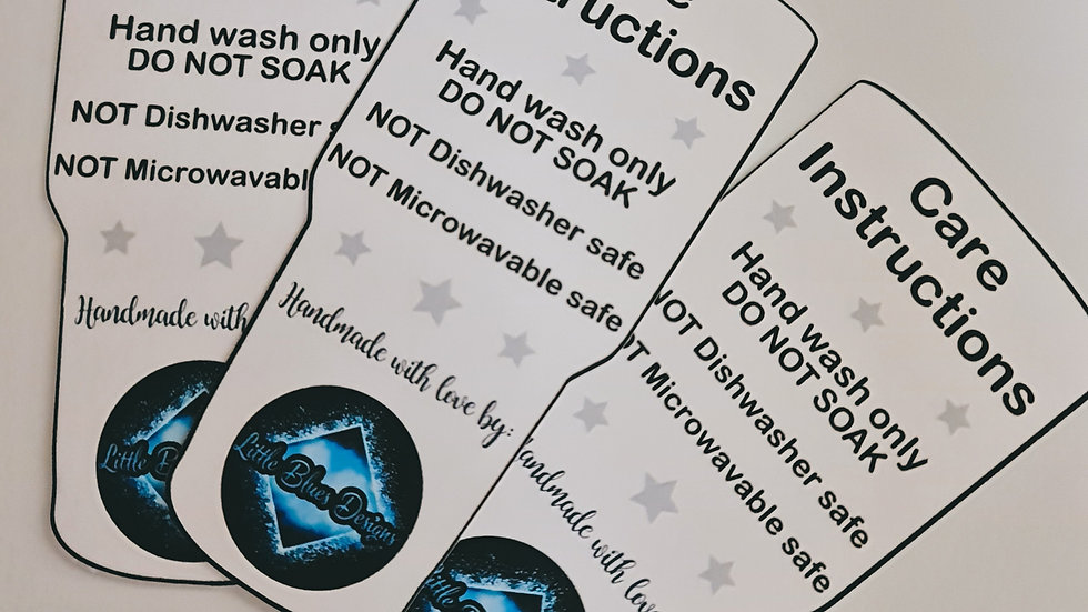 20 x Personalised Tumbler Care Instruction Cards