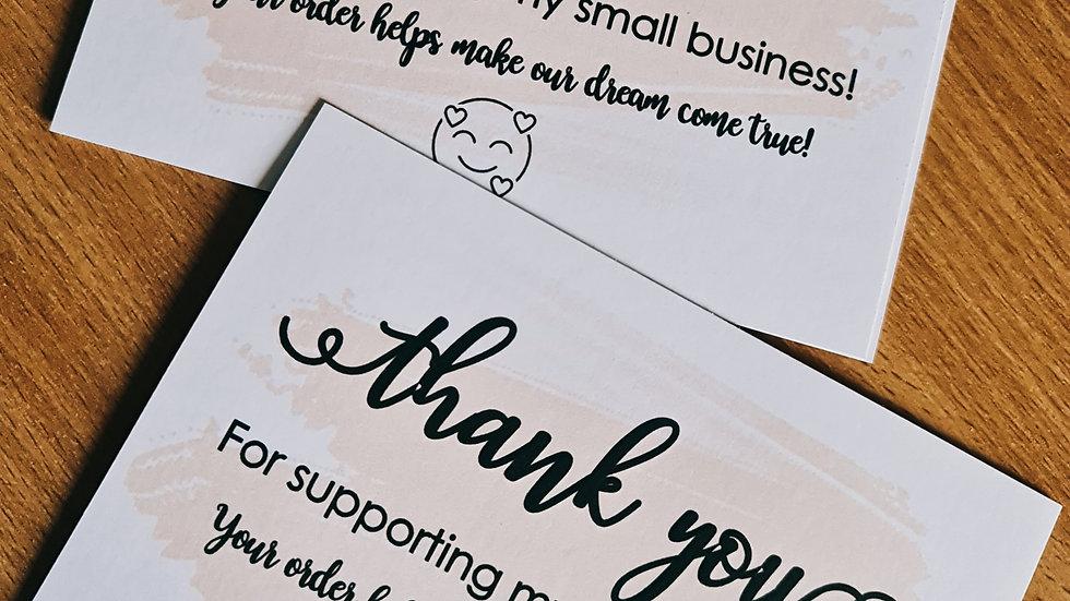 50 x Pre-Designed Thank you cards