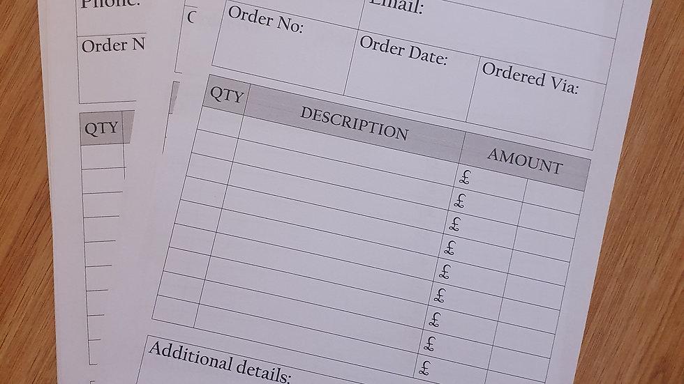 100 x A4 Order Sheet Refills