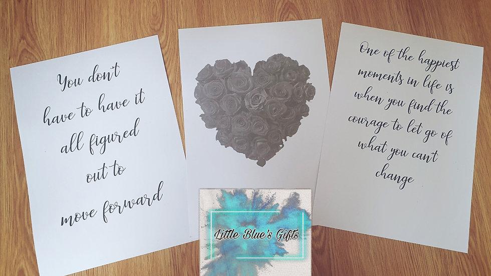 Set of 3 Grey Heart & Quote Prints