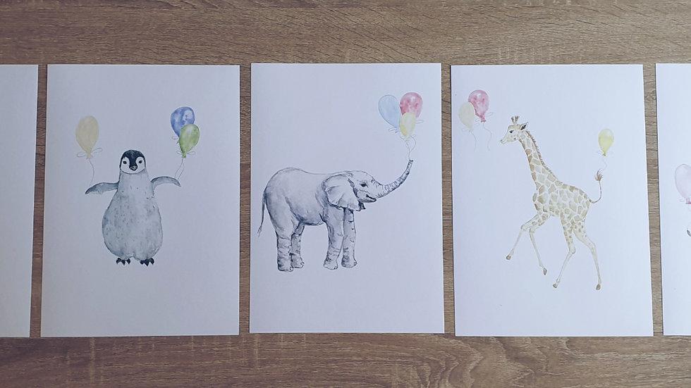 Animal Balloon Nursery Prints - Set of 5