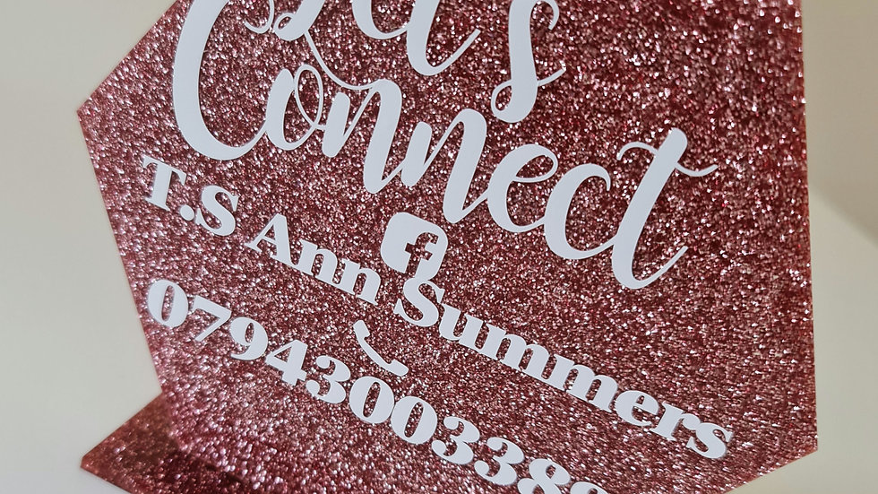 Rose Gold Glitter Hexagon Business Sign