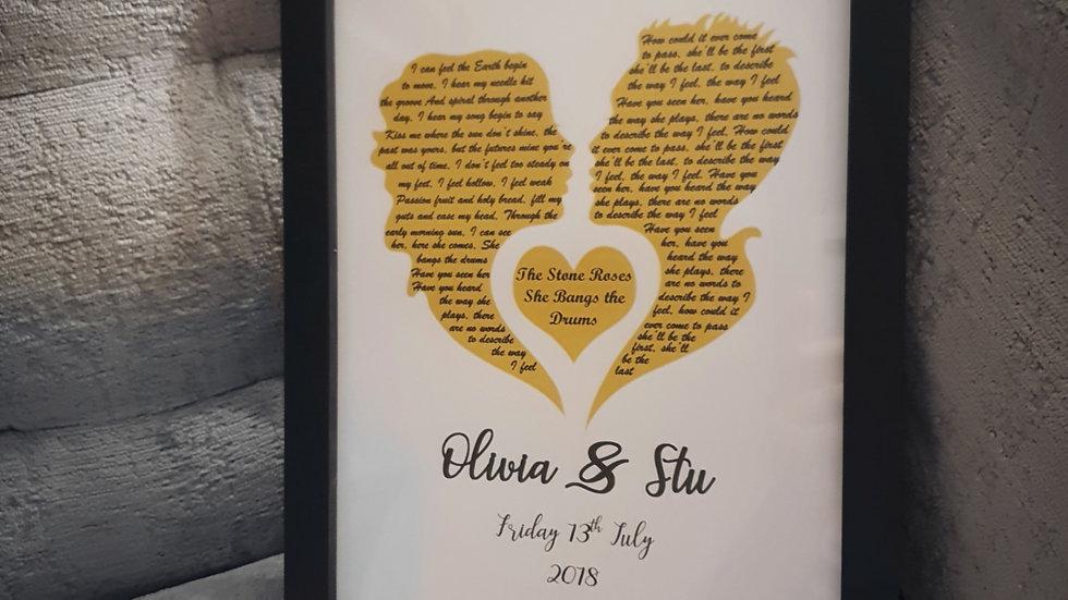 Couple Anniversary Song Lyric Print