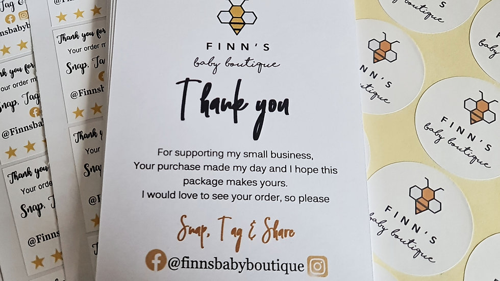 30 x A6 Thank you Cards