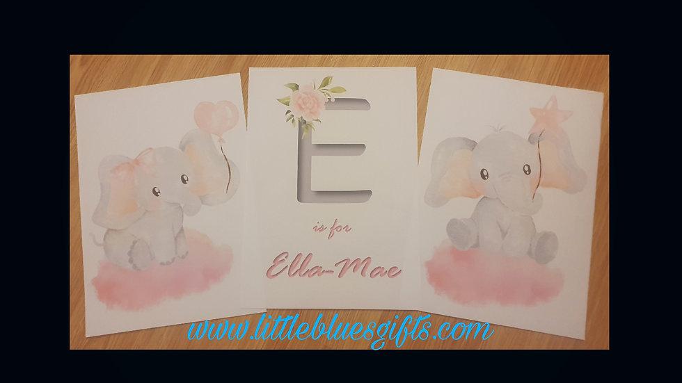 Initial & Name Elephant Nursery Prints