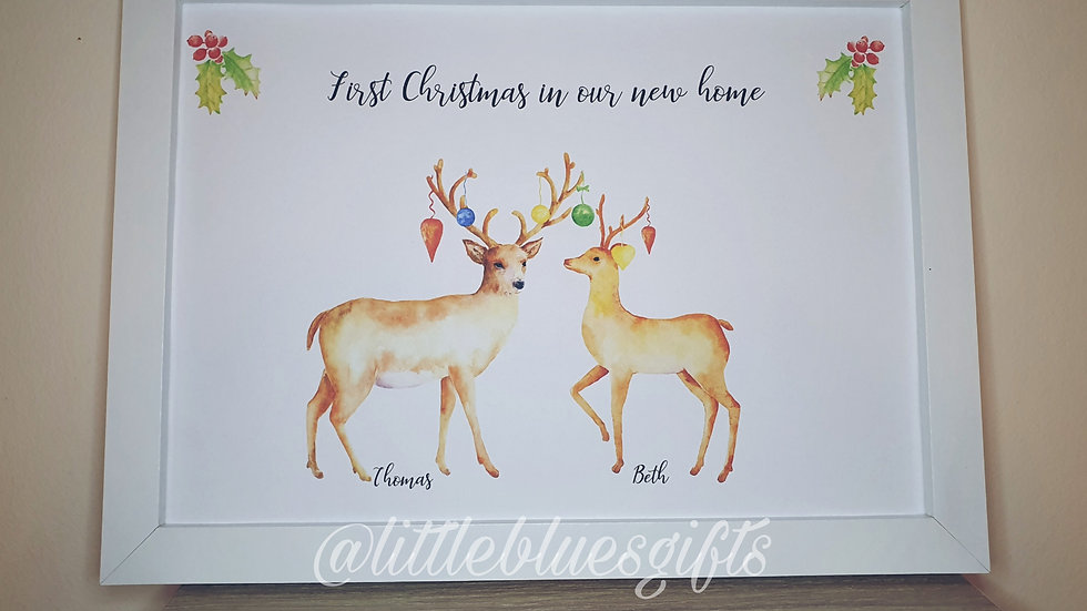 Stag Family Christmas Personalised Print