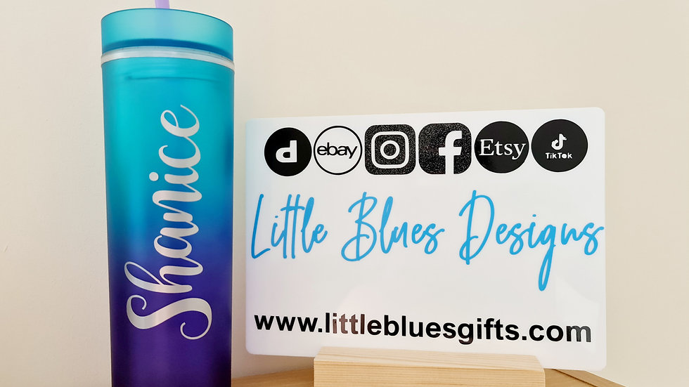 Blue & Purple Ombre Tumbler with Straw