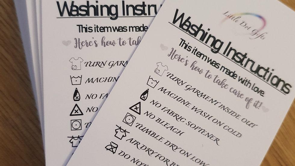 Vinyl Clothing Washing Instruction Cards x 50