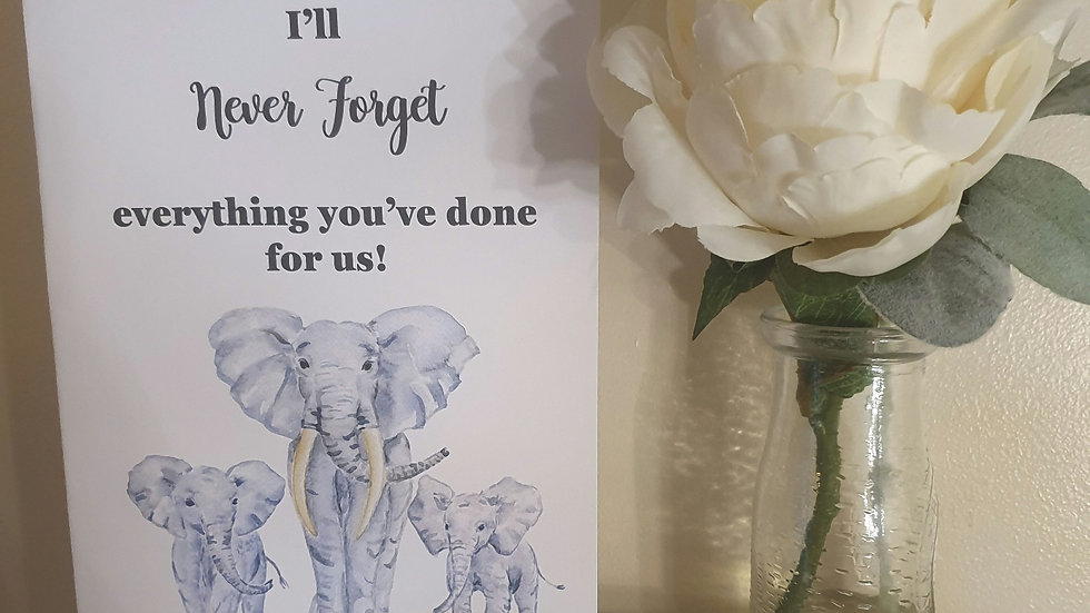 Never Forget Quote Elephant Greeting Card