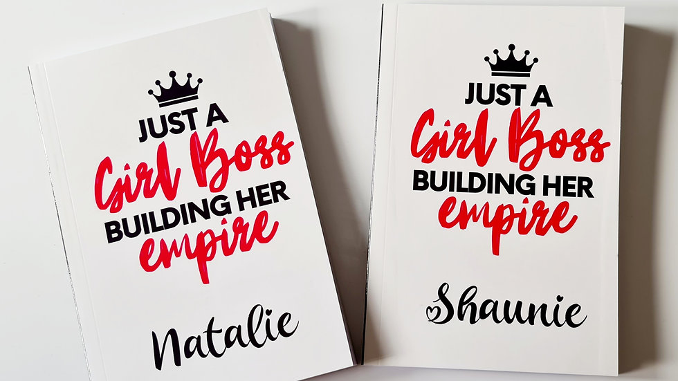 Personalised 'Girl Boss' Quote A5 Notebook and Crown Pen
